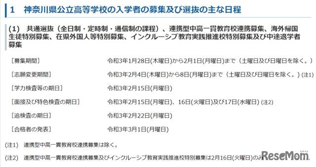 神奈川県公立高等学校の入学者の募集及び選抜の主な日程