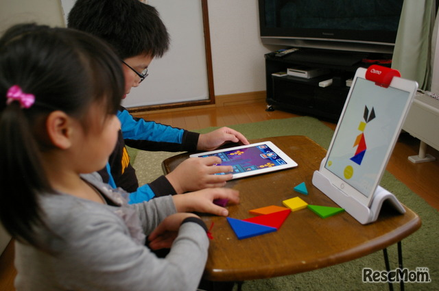 娘の一番のお気に入りは「タングラム」 兄は隣でパーツ不要のアプリに取り組む