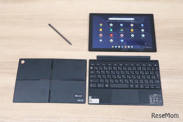 タッチパネル付きフルサイズキーボード、スタイラスペン、フレックスアングルスタンドカバーが標準で付属している