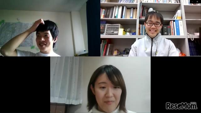 シマダ@水環境・土木工学科さん(上段左)、しゃんてぃえん@都市工学科さん(上段右)、こづ@国際資源学科さん(下段)