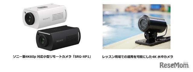 左:ソニー製4K60p 対応小型リモートカメラ「SRG-XP1」/右:レッスン現場での運用を可能にした4K 水中カメラ