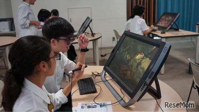 花園中学校・高等学校での「zSpace」を利用した学習体験
