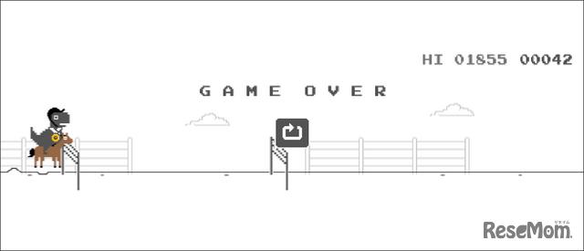 隠れワザ、Chrome「恐竜ゲーム」で五輪モード!?「乗馬」GAME OVERでメダルGET