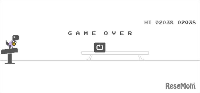 隠れワザ、Chrome「恐竜ゲーム」で五輪モード!?「体操」GAME OVERでメダルGET